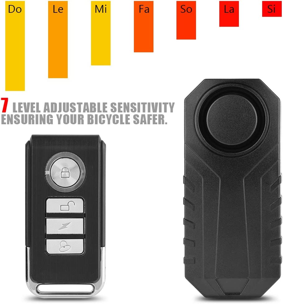 Alarma antirrobo de bicicleta inal/ámbrica antirrobo con control remoto Cerradura antirrobo de seguridad a prueba de agua 113dB Cerradura de sonido audible con sensor de desplazamiento tridimensional S