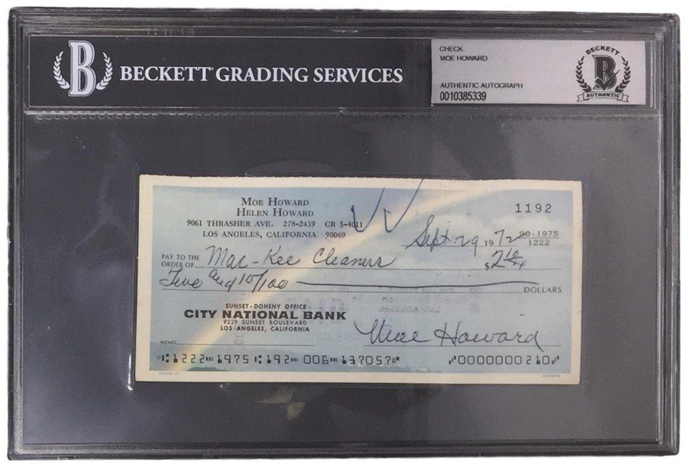 Moe Howard Signed Autographed Slabbed Sep 29 1972 Personal Check Bas 0010385339 Certified Certified