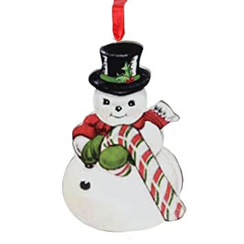"Amazon 4040"" Glittered Snowman Holding a Large Candy Cane New Large Candy Cane Decorations"