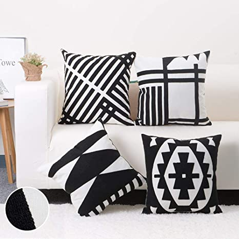 Baibu Pack Of 4 Embroidered Throw Pillow Case 100 Cotton Decor Black And White Geometric Cushion Cover For Couch Sofa 18x18 Inch 4pcs Home Kitchen