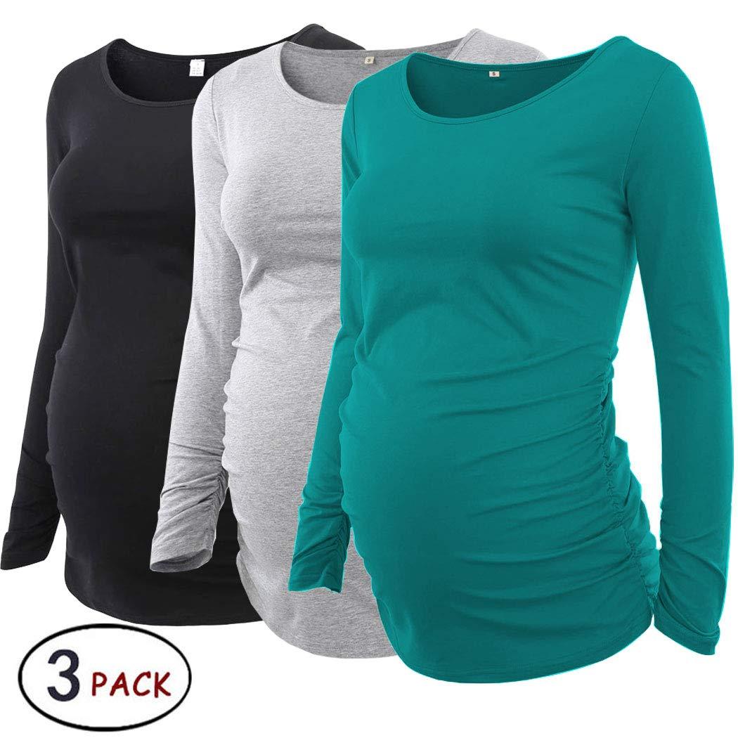 Pack of 3pcsレディースMotherhood MaternityドルマンチュニックトップスMama Clothes Flattering Side Ruching長袖スクープネック B07J55MZK6 Small|Black/Grey/Teal Black/Grey/Teal Small