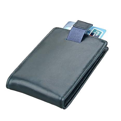 RFID Bifold Slim Tarjeta de Cuero Minimalista Carteras Delgadas para Hombres Bolsillo Delantero Clip de Dinero