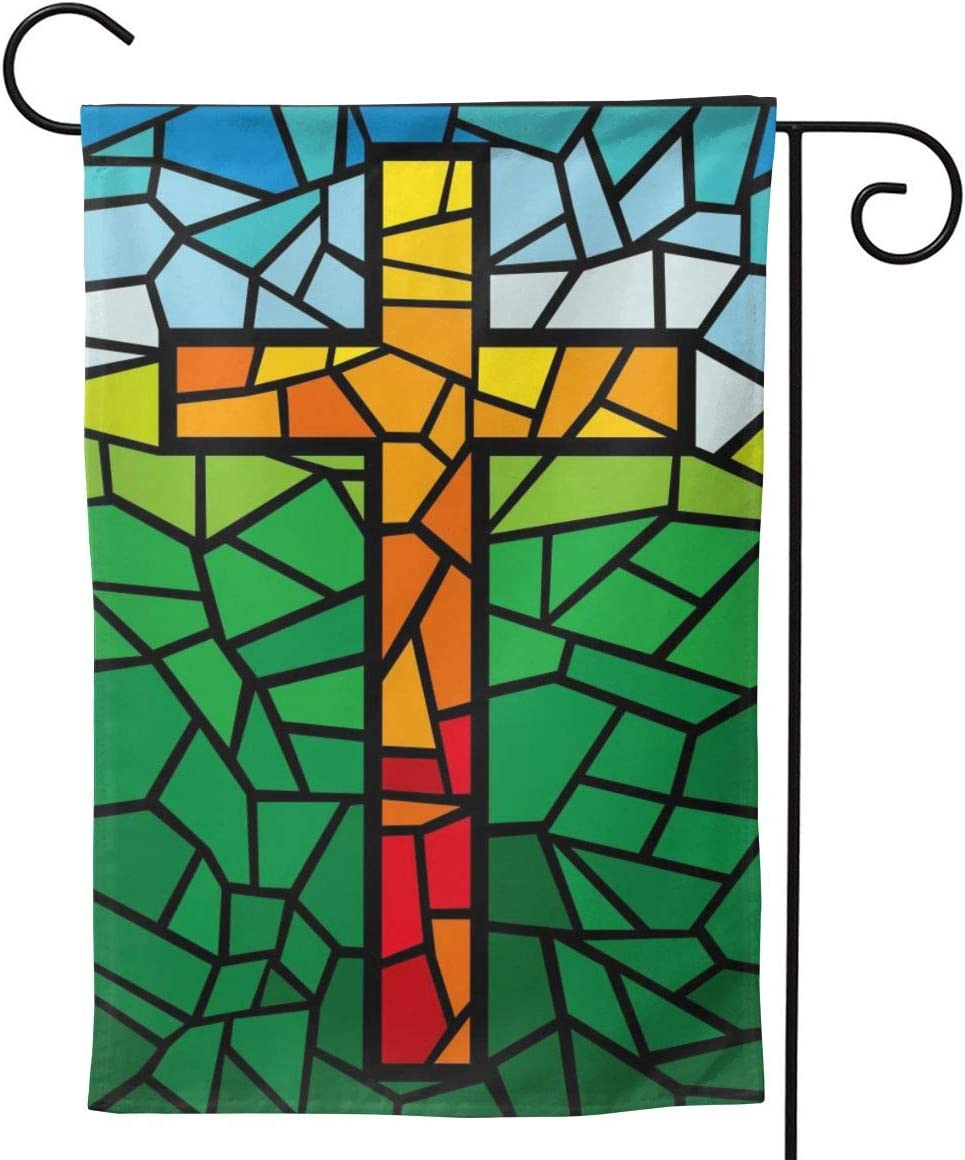 "YISHOW Jesus Christ Cross Religious Stained Glass Style Garden Flag Double Sided Vertical Christian Lord Faith Cross Stained Glass Style House Flags Yard Signs Outdoor Decor 12.5""X18"""