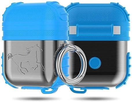 XIAONINGMENGDIAN Aplicable Airpods Estuche Metálico de Silicona para Auriculares Bluetooth, Airpods Metallic Silicone 2 en 1 Juego Productos Electrónicos (Color : Light Blue): Amazon.es: Electrónica