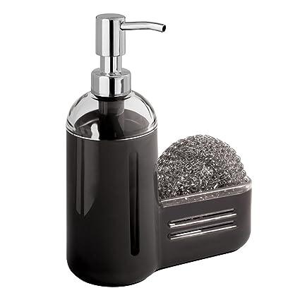 MDesign Kitchen Sink Soap Dispenser Pump And Sponge Caddy   Black/Clear