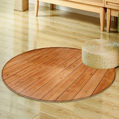 Area Silky Smooth Rugs Wooden Floor Board Background  Home Decor Area Rug -Round -