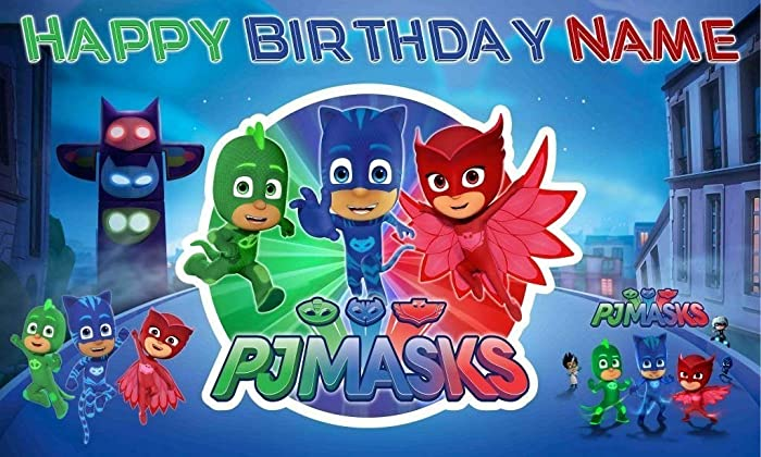 Pj Masks Happy BIrthday Banner Personalized/Custom Vinyl Backdrop Party decoration 16oz