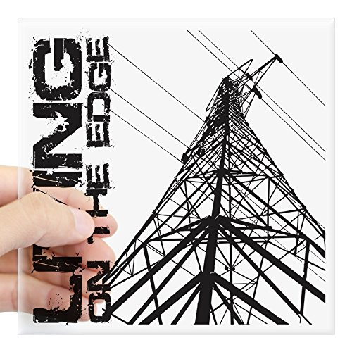 (CafePress Transmission Tower Edge 1 Square Sticker 3 X 3 Square Bumper Sticker Car Decal, 3