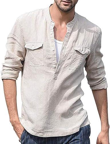 Huateng Camisa de Manga Larga para Hombres Camisa de Lino de algodón con Botones Camisas Henley Casuales Camisa de Vestir de Verano de algodón Ligera de Corte Slim: Amazon.es: Ropa y accesorios
