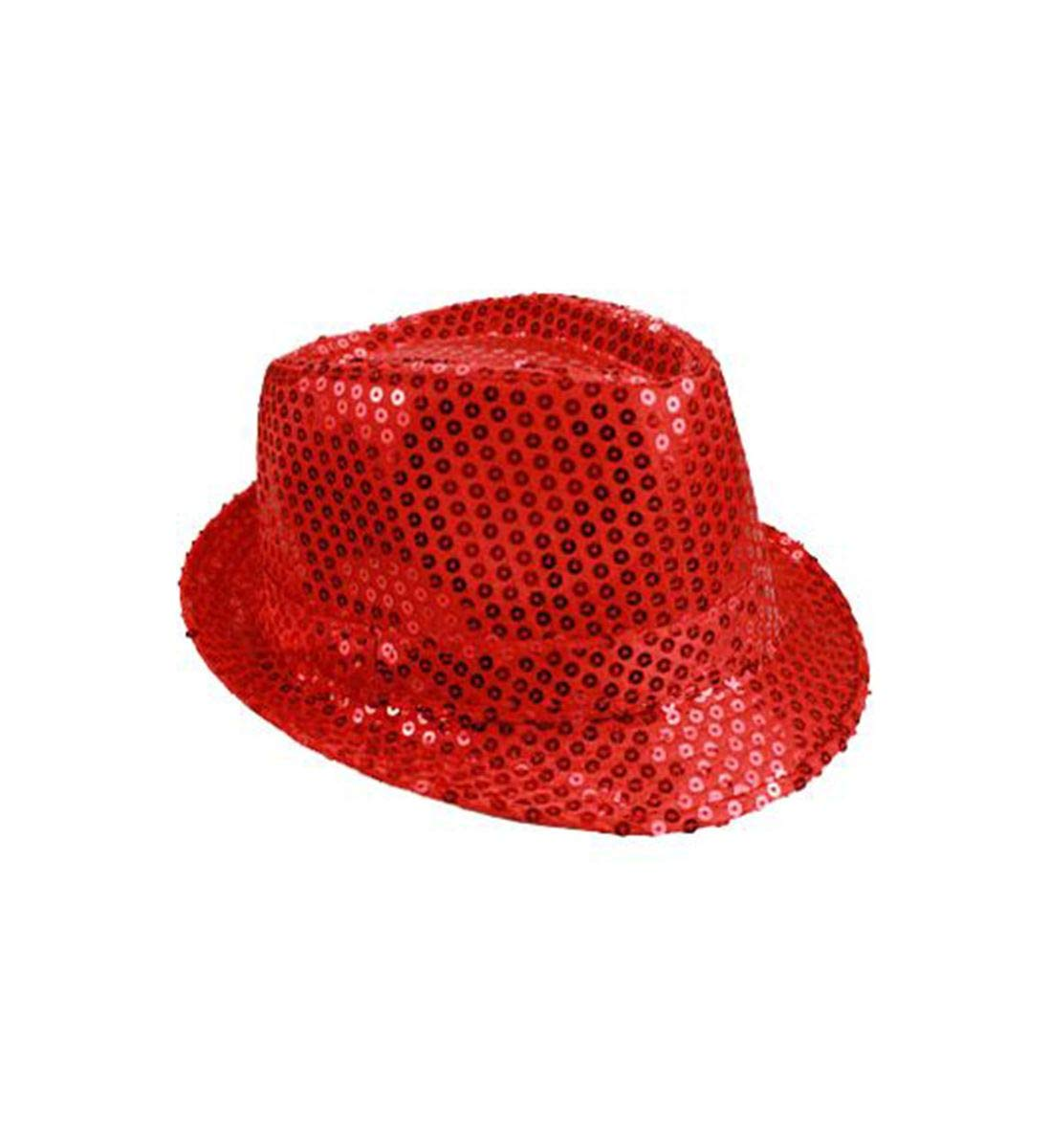 Mozlly Glamorous Red Sequin Fedora Hat Flashing Disco Retro Funky Glitter Sparkly Universal Luxurious Costume Caps Party Favor Games Banquet Wedding Novelty Headwear Accessories 11 Inch