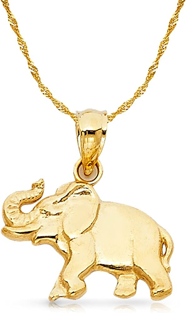 14K Yellow Gold Elephant Charm Pendant with 1.2mm Singapore Chain Necklace