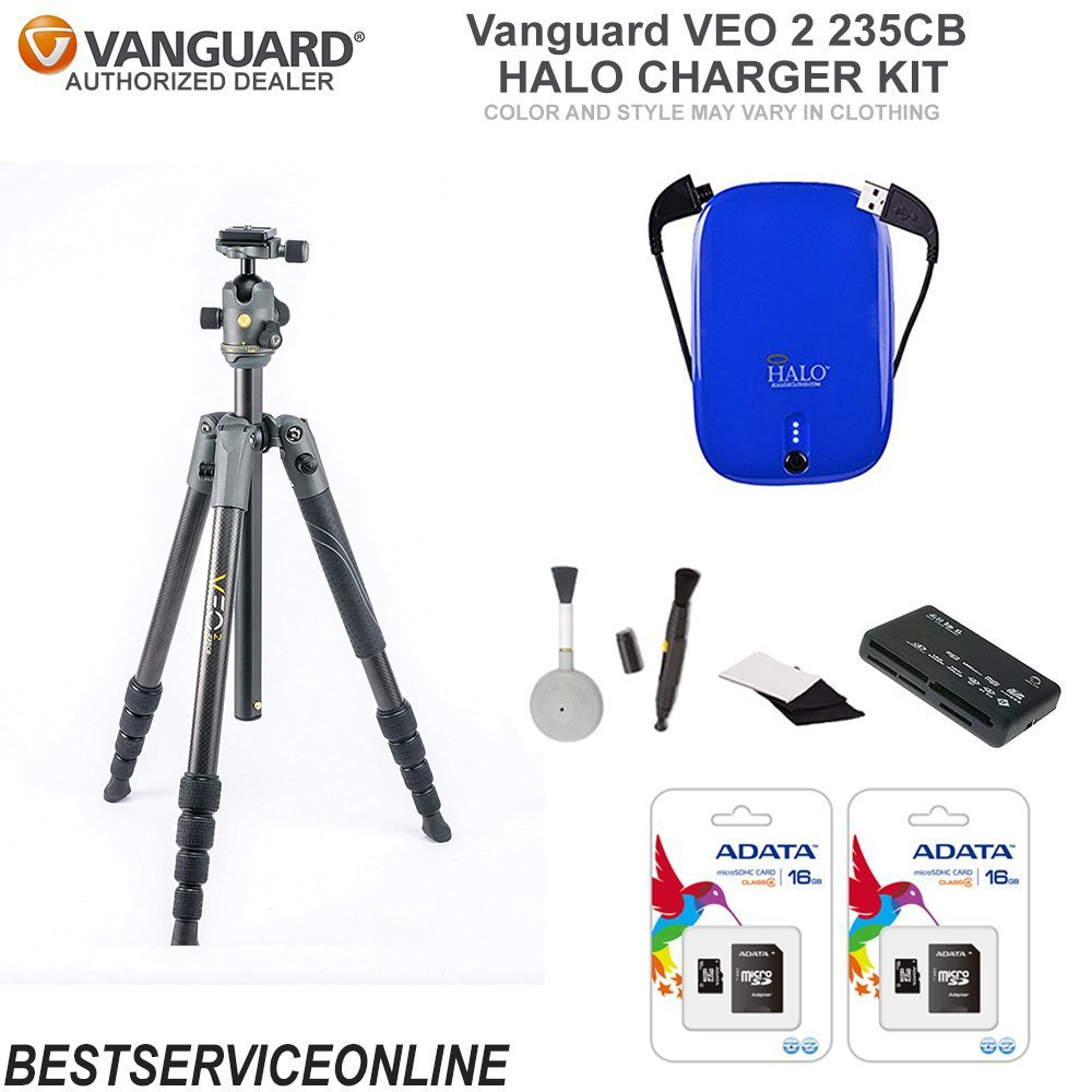 Vanguard VEO 2 235CB Tripod HALO CHARGER Edition KIT Includes: HALO Charger, Universal Memory Card Reader, Lens Cleaning Brush, and 2 16GB Micro-SD ADATA Cards