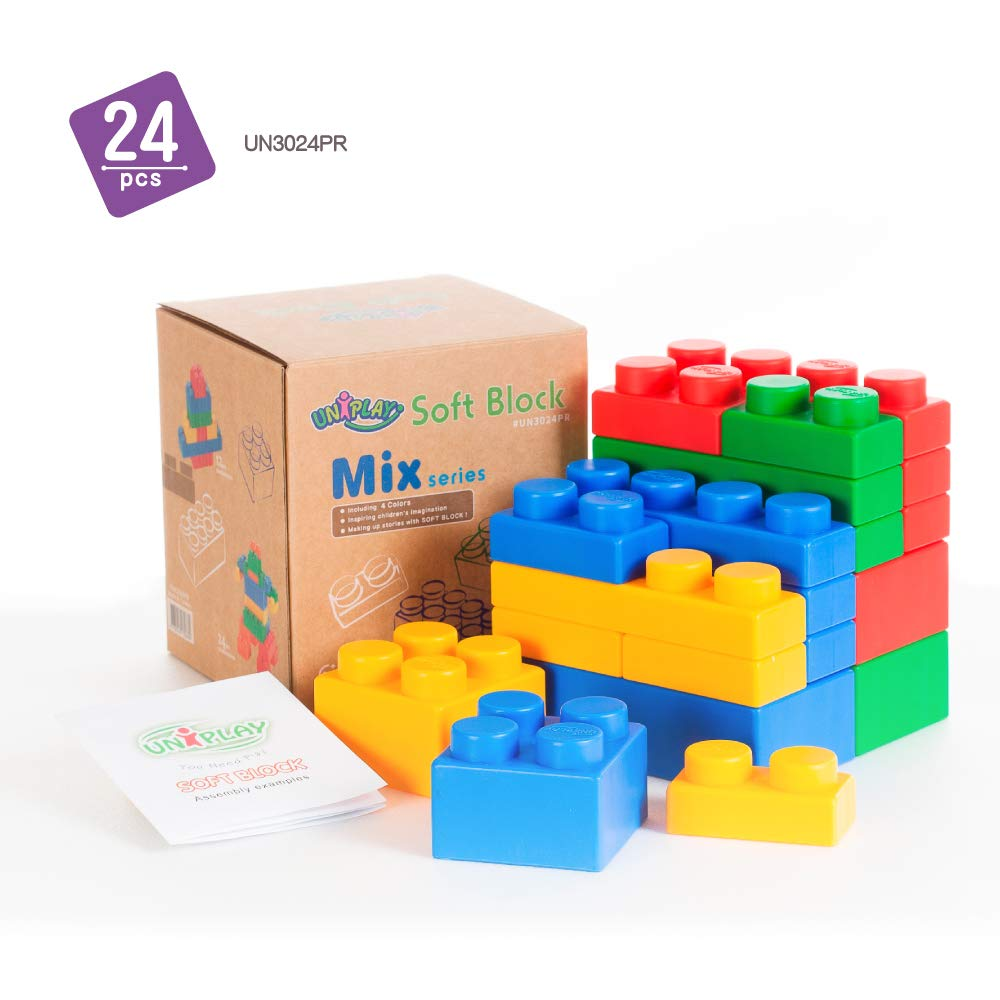 UNiPLAY Mix Series Jumbo Soft Building Blocks - Non-Toxic, & BPA-Free - 24-Piece Multi-Color Set