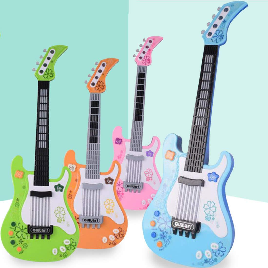 MRKE Guitarra Electrica Niños 57cm Rock Juguete de Instrumentos Musicales con Luces de Colores para Infantil Niño y Niña 3-7 Años (Verde): Amazon.es: ...