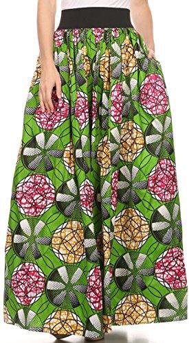 Sakkas SK16316 - Fawna Patterned Long Wax Print Adjustable Waist Skirt With Pockets - Green / Pink - OS