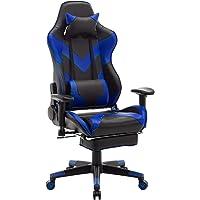 WOLTU® Racing Stuhl #1158 Gamingstuhl Bürostuhl Schreibtischstuhl Sportsitz mit Kopfstütze und Ledenkissen, Armlehne verstellbar, mit Fußstütze, höhenverstellbar
