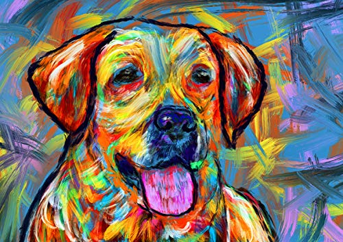 Colorful Labrador Wall Art Print, Hand Signed Yellow Lab Owner Gift, Expressionist Painting Print, Gift For Labrador Mom, Dog Art Vivid Modern Labrador Dog Painting
