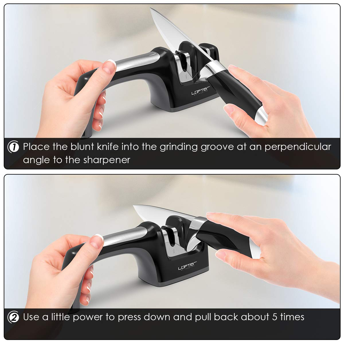 Kitchen Knife Sharpener, LOFTER 2 Stage Knife Sharpening with Angle Adjustment Knob, Diamond and Ceramic, Restore and Polish Blades, Non-slip Base Sharpening Knife, Easy to Control, Black by LOFTER (Image #8)