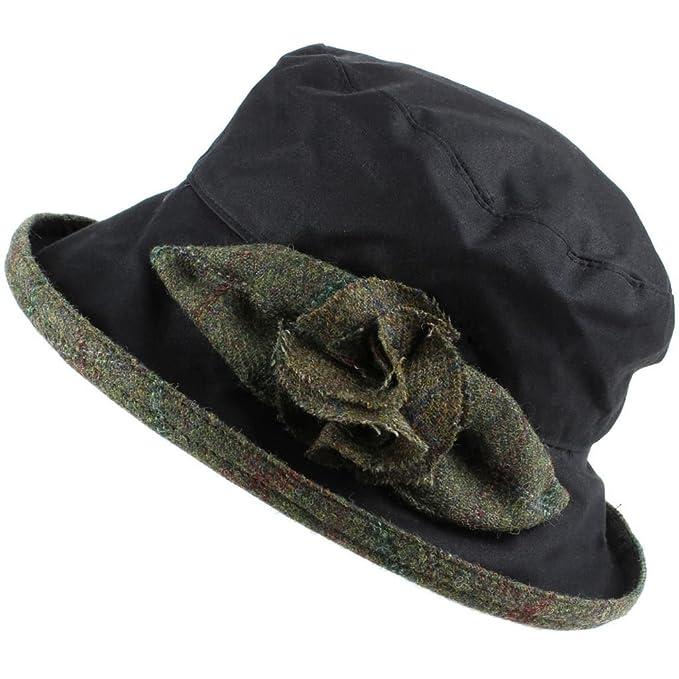 Peak e orlo in tweed da donna impermeabile cappello cloche in cera con rose  e orlo Black (Dark Green Tweed) Taglia unica  Amazon.it  Abbigliamento d1c30f870974