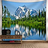 KRWHTS Mountain Nature Tapestry Mount Baker Mountains Lake Forest Trees Landscape Wall Hanging Tapestry - Cotton Polyester Fabric Wall Art150130cm(60