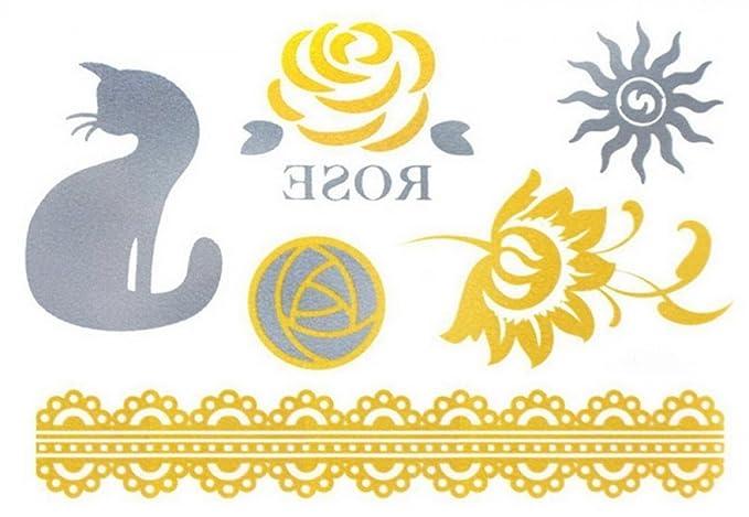 Golden y plata Flash Tatuajes sol, flores gato & joyas Tatuajes ...