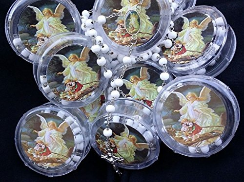 First Communon Baptism White Scented Rosary Favor - 12 Guardian Angel Rosaries with individual Gift Box