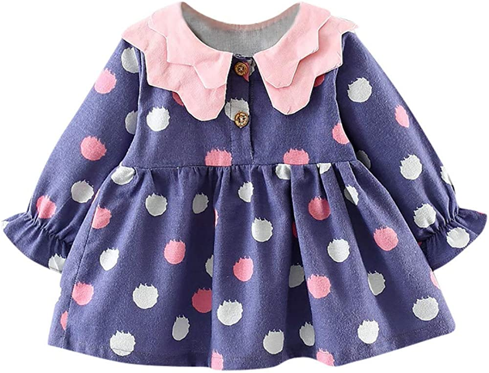 Dream Room Dresses Toddler Infant Kids Baby Girls Dot Long Sleeve Princess Dress Clothes Outfits