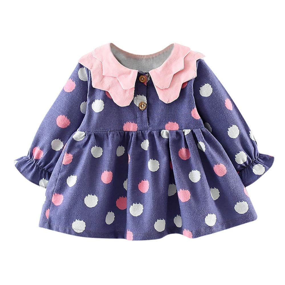 Theshy Newborn Infant Baby Girl Long Sleeve Dot Princess Dress Clothes Outfits Girls Clothing Childern Clothes Kids Gift