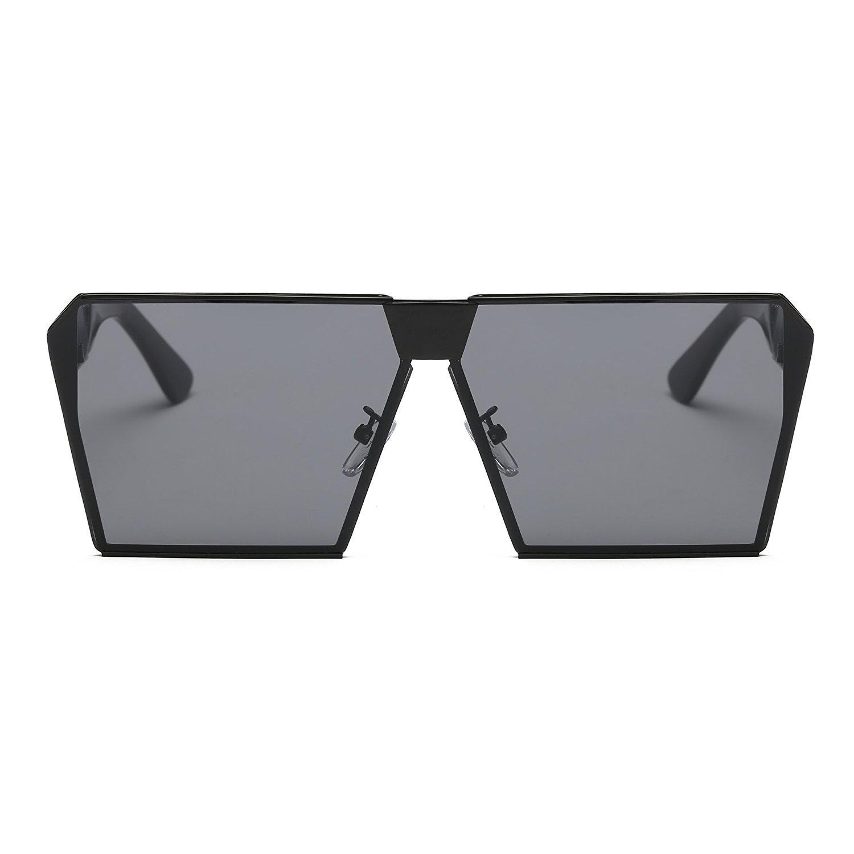 TEMPO Oversized Square Sunglasses Polarized Metal Frame UV Protection Unisex Eyewear(Black Grey) uvDhitSRm