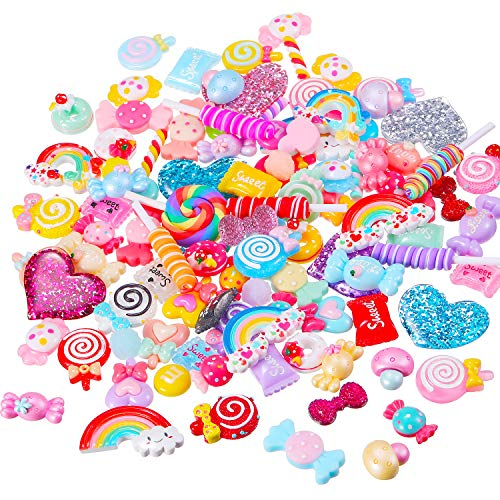 BBTO 100 Pieces Slime Charms Mixed Candy Sweets Resin Flatback Slime Beads Making Supplies for DIY Scrapbooking Crafts -