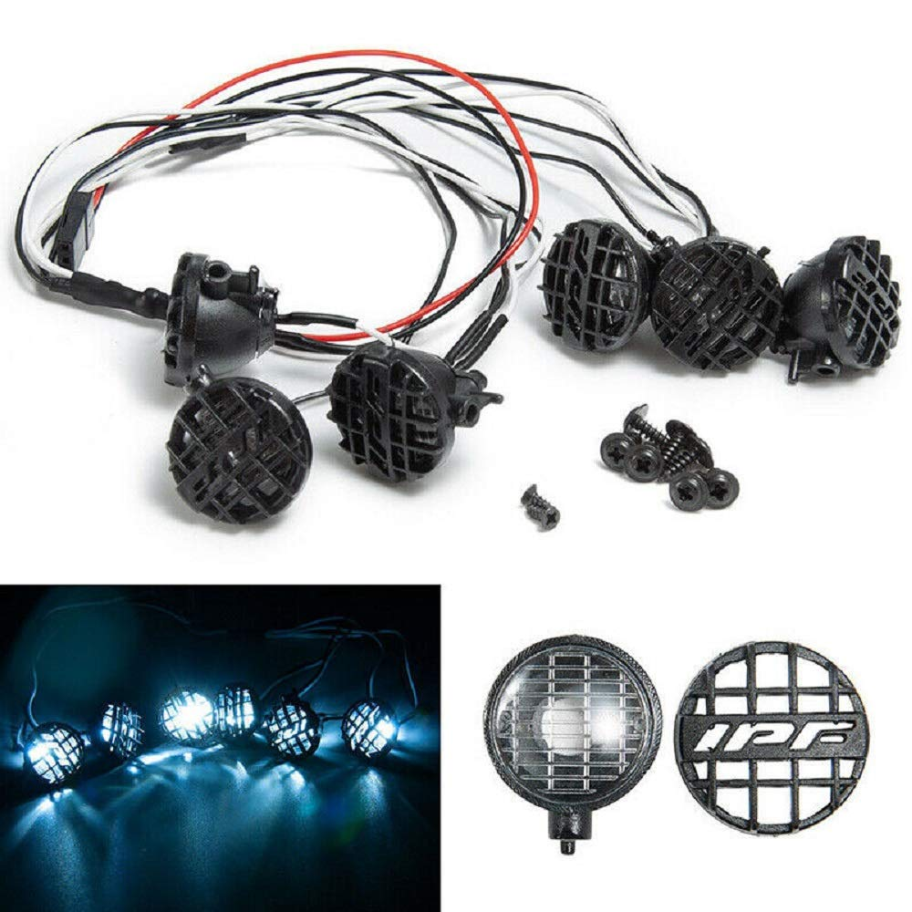6LED White Lights w// Lampshade für 1:10 Traxxas TRX4 HSP Redcat SCX10 RC Crawler