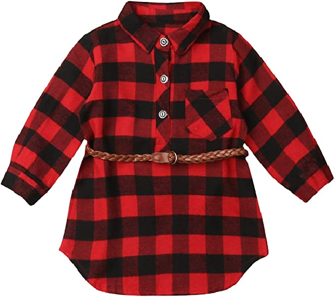 Toddlers Baby Boys Girls Flannel Shirt Kids Long Sleeve Button Down Plaid Top
