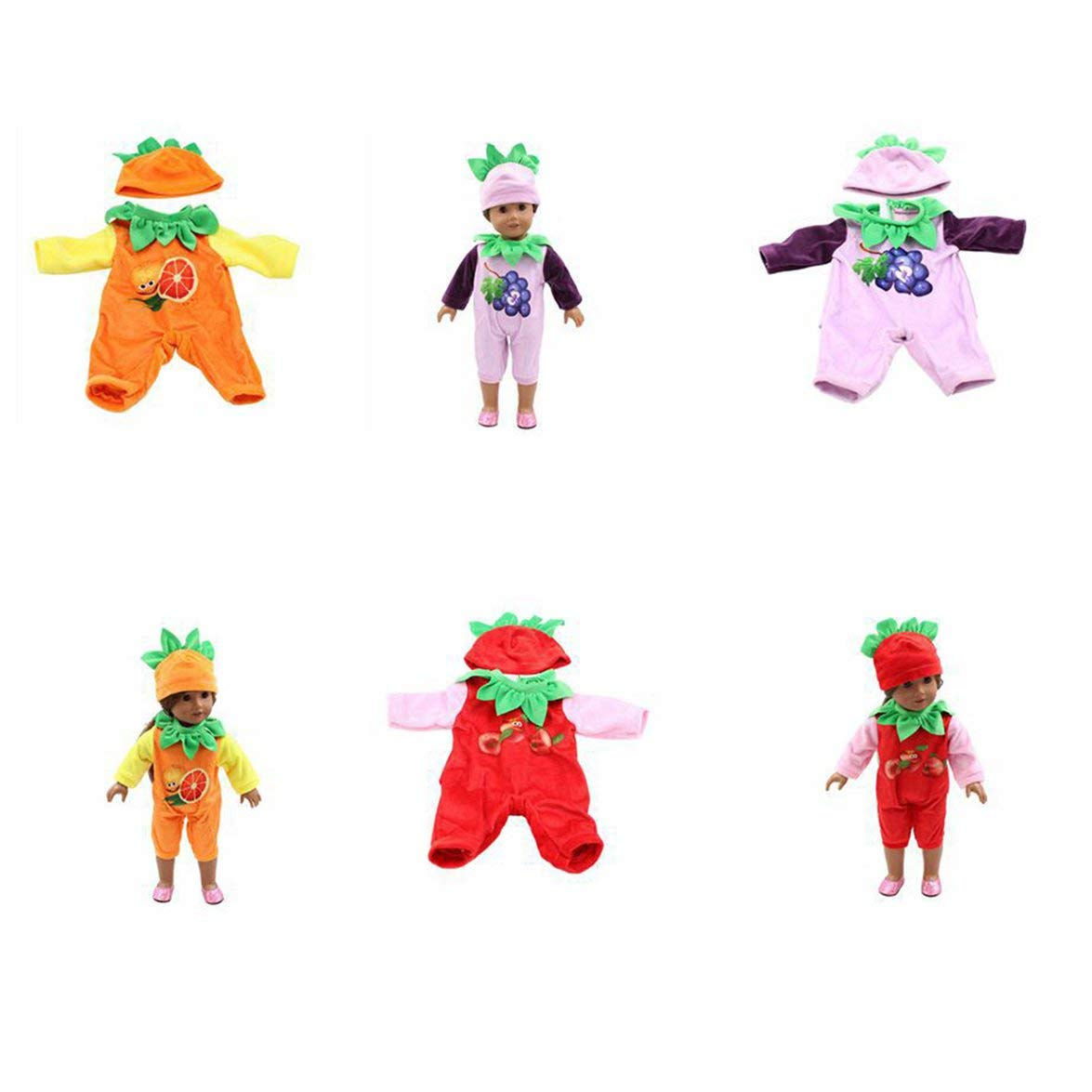 Kongqiabona 18 Inch Doll Clothing American Girl Toy Accessories Plush Hat Body Suit Set