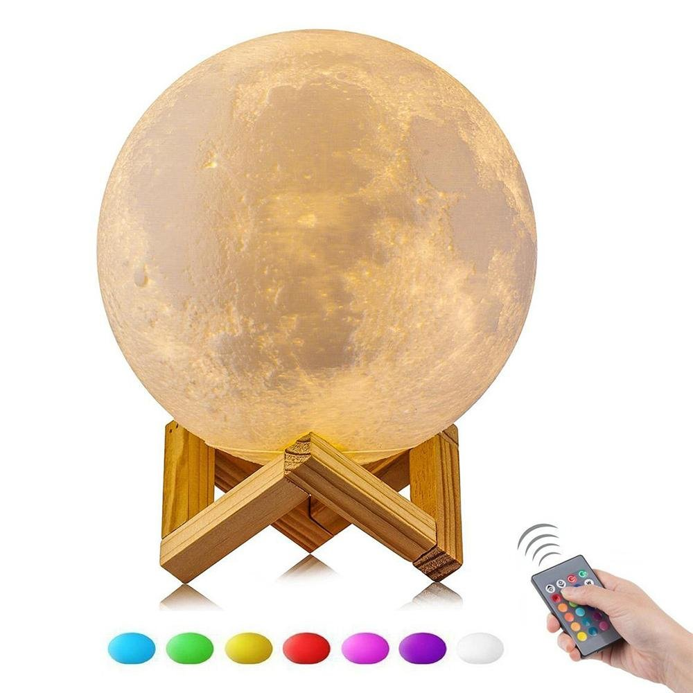 KOBWA Moon Lamp, 3D Printing Moon Night Light with Remote Control 16 Colors Magical Moon Lamp USB Charging Home Decorative Lights Baby Nursery Lamp Best Gift