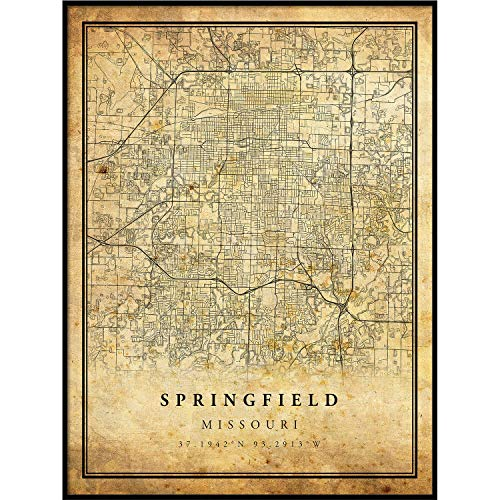 Springfield map Vintage Style Poster Print | Old City Artwork Prints | Antique Style Home Decor | Missouri Wall Art Gift | map Posters 18x24 ()