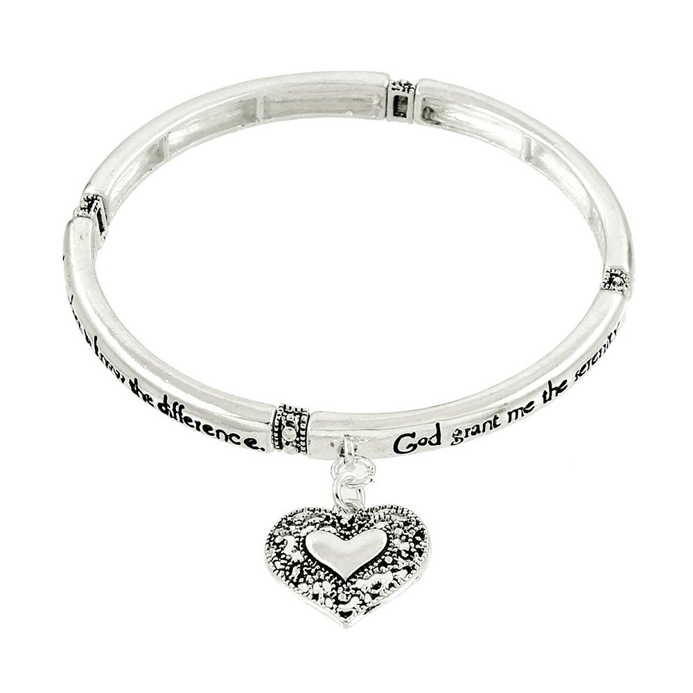 Lola Bella Gifts Serenity Prayer Bracelet with Message Bookmark and Gift Box Lancy NY 01.AB3178-AS