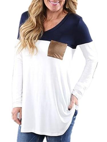 Kerlana Camisas Mujeres Camisetas De Manga Larga Cuello En V De La Camiseta De Casuales Patchwork Sw...