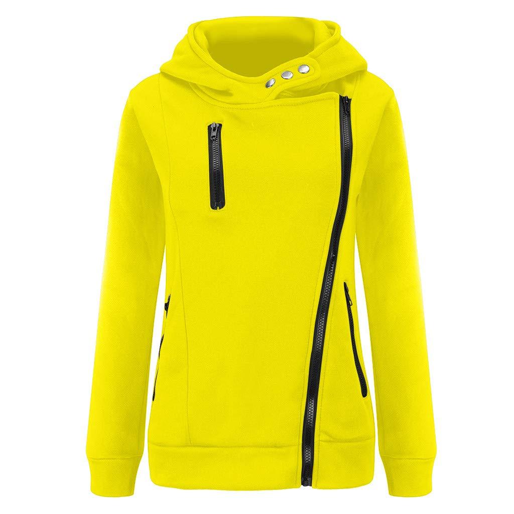Shusuen Women's 3/4 Long Sleeve Hoodie Open Front Jacket Zipper Outwear Coat with Pockets Yellow by Shusuen