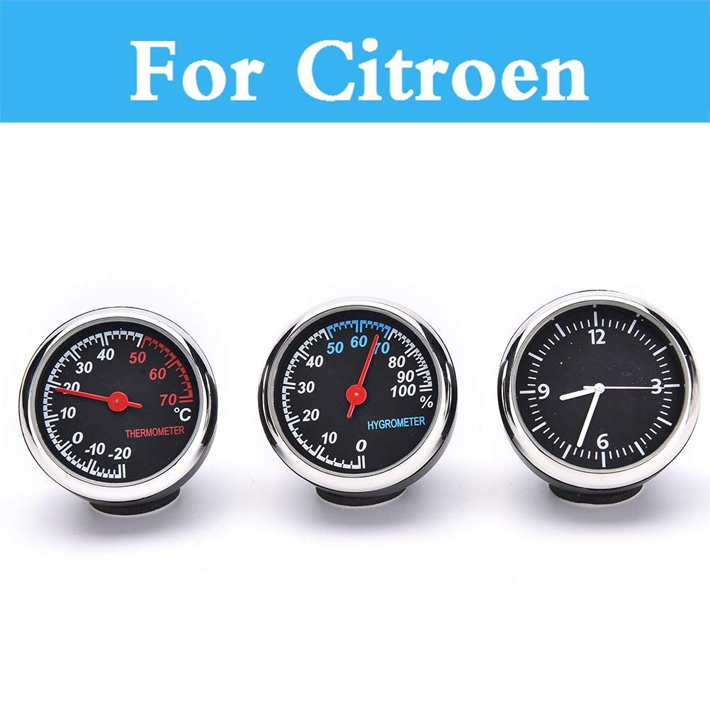 Fastener & Clip Car Clock Noctilucent Watch Digital Pointer Car Mechanics Thermometer for Citroen Ds3 Ds4 Ds5 Xsara C-Crosser C-Elysee C-Zero - (Color Name: Thermometer)