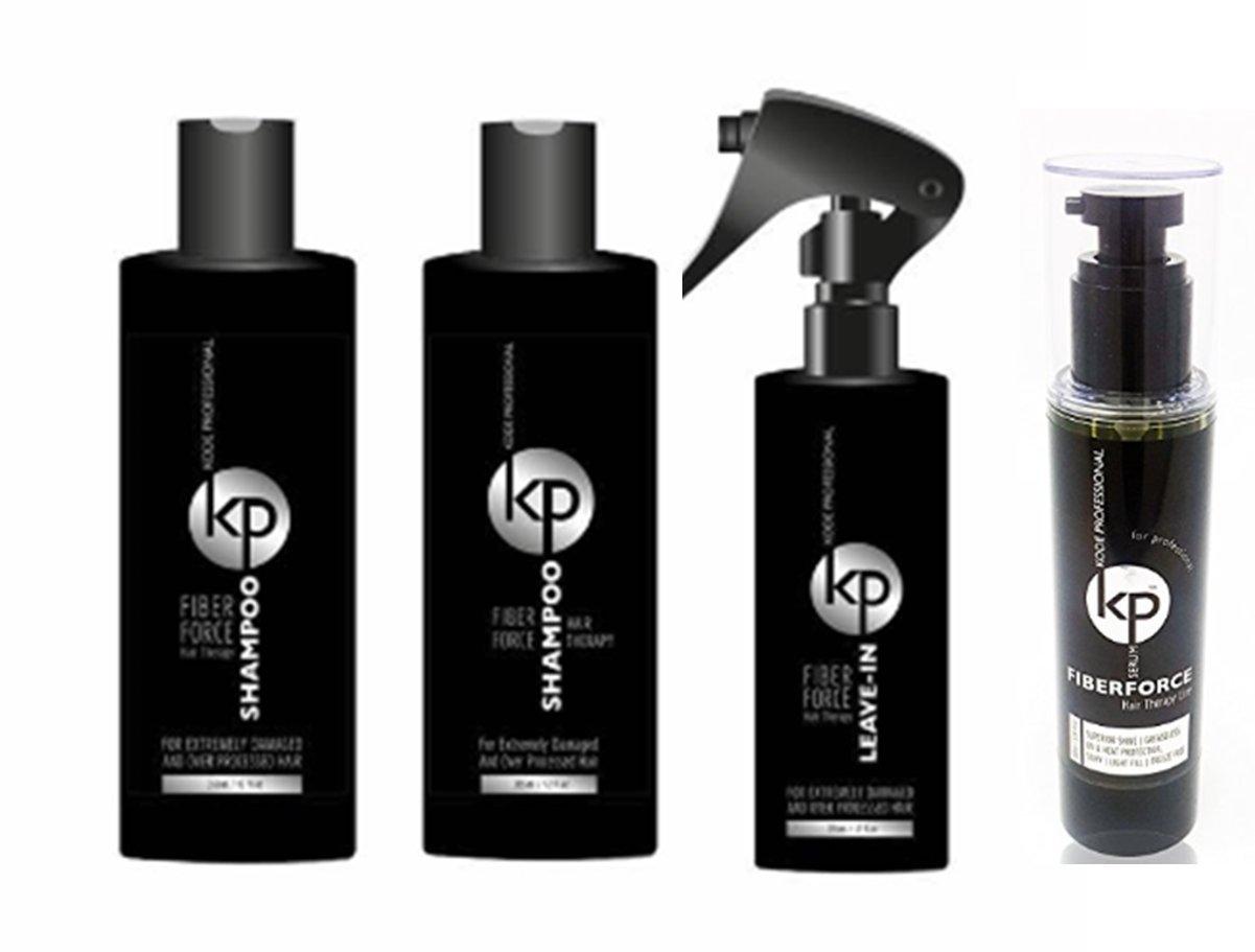 4 PC Bundle: Kode Professional Fiberforce Hair Therapy Products (4PC Serum Kit)