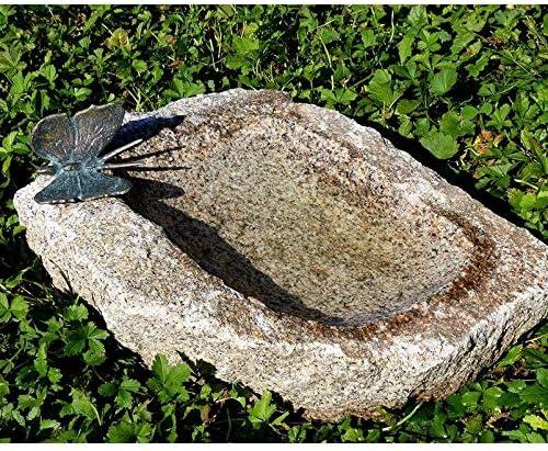 Rottenecker Insektentränke mit Schmetterling, Granit/Bronze, 10 x 20 x 20 cm