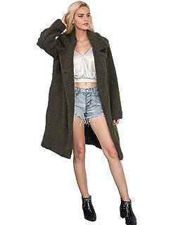 4e0f2604c706f Voghtic Winter Warm Fleece Trenchcoat Faux Fur Long Coat Outwear for Woman