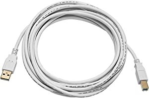 Monoprice 108617 10ft USB 2.0 A Male to B Male 28/24AWG Cable (Gold Plated) - WHITE for Printer Scanner Cable 15M for PC, Mac, HP, Canon, Lexmark, Epson, Dell, Xerox, Samsung and More!