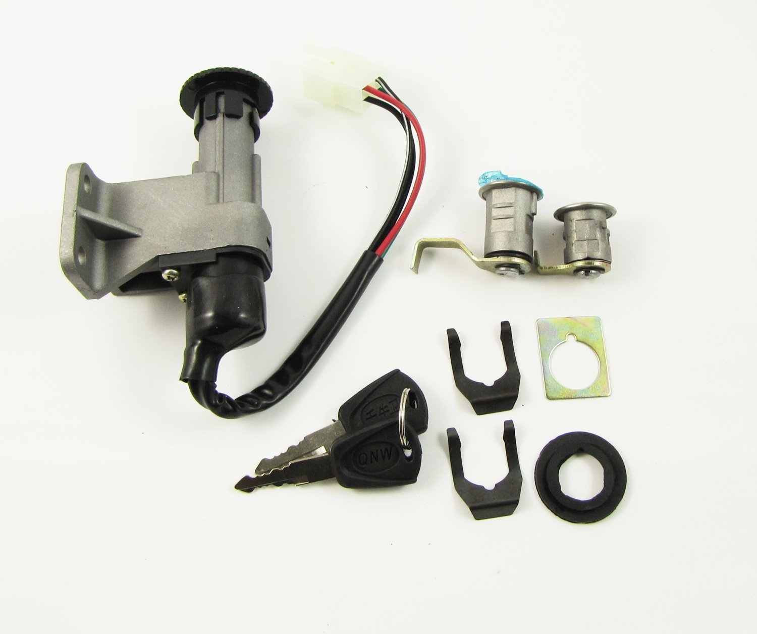 Motorcycle E-bike Scooter Ignition Switch Power Battery Leading Lock Set 2 Key hwydo