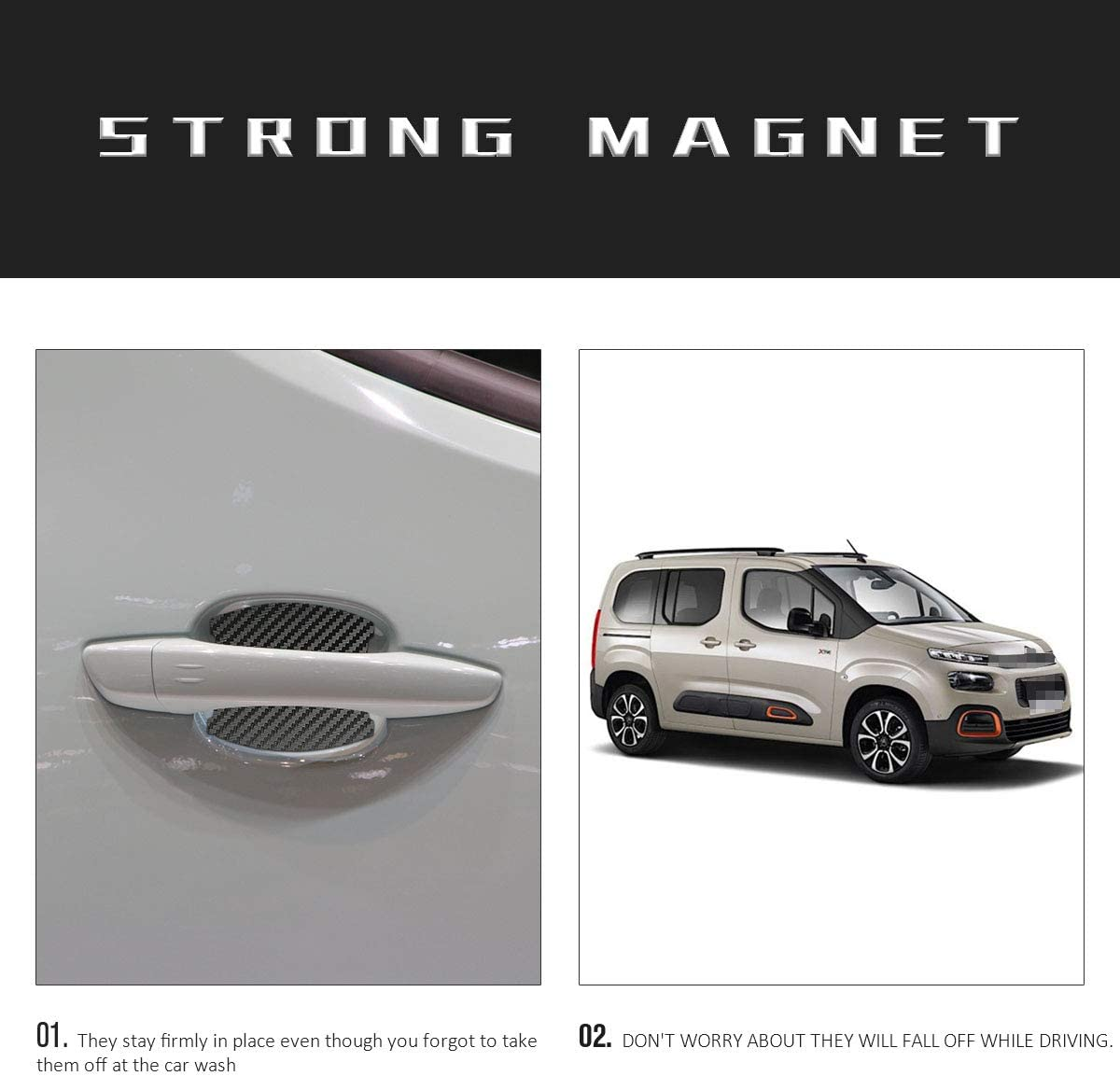 MLING 4 Pcs Magnetic Car Door Handle Insert Cover Anti Scratches Guard Paint Protector Compatible for Berlingo