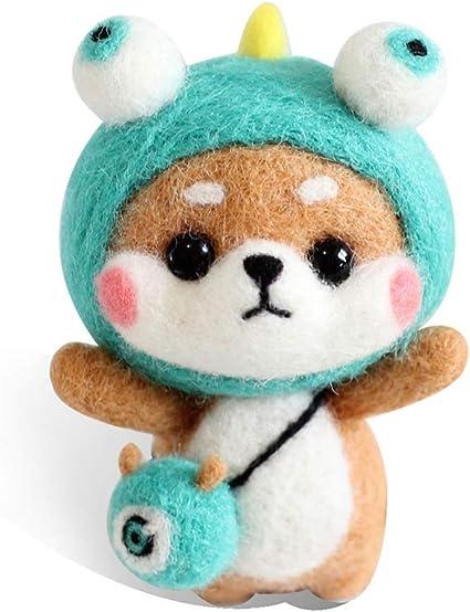 2 Sets Cartoon Shiba Inu Needle Felting Kits Wool Crafts DIY Needlework