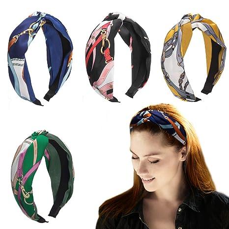 presenting crazy price quality HBselect Lot de 4 serre-têtes larges en tissu pour Femme, Nœud, style  rétro, accessoires capillaires pour Femme