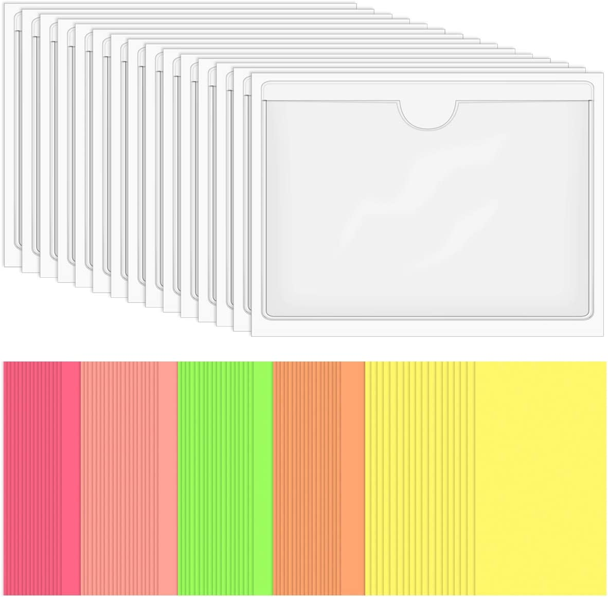 SKPPC 40 Pack Self-Adhesive Index Card Holder, Clear Plastic Library Card Pockets Label Holder with Top Open, Ideal Card Holder and 60 Sheets Colorful Index Cards, 3.8 x 5.3 Inch