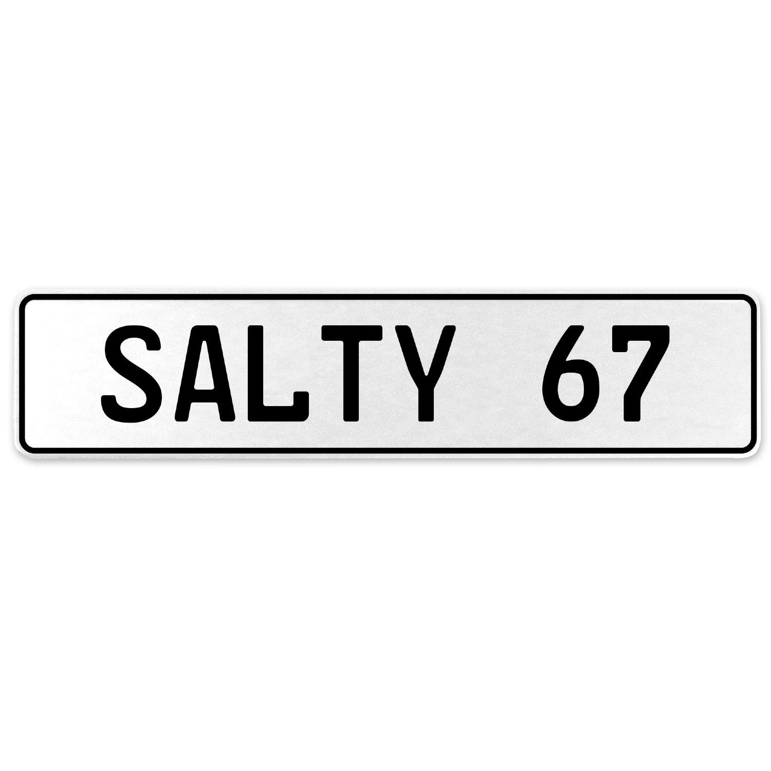Vintage Parts 556743 Salty 67 White Stamped Aluminum European License Plate