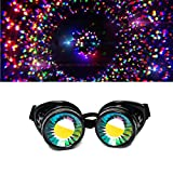 GloFX Black Padded Kaleidoscope Goggles - Wormhole Lens - Adjustable Strap - EDM Rave 3d Prism Rainbow Cyber Welding Steampunk Cyborg Portal Real Glass Crystals Diffraction Style